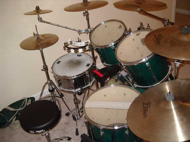 a picture of my drumset